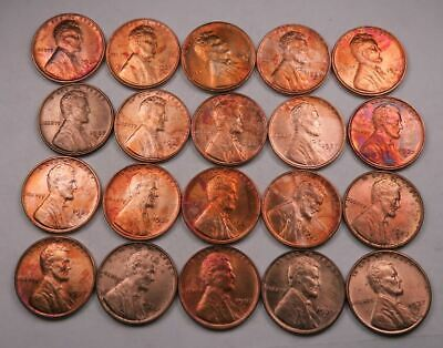 (20) 1937-D Wheat Penny Partial Roll // Gem BU (red+toned) // 20 Coins (WL11)