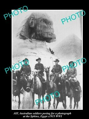 OLD 6 X 4 HISTORIC PHOTO OF AIF ANZAC SOLDIERS ST THE SPHINX WWI c1915 EGYPT