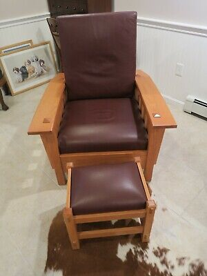 Mission Stickley style Bow Arm Morris Chair & Ottoman Leather, Custom Made