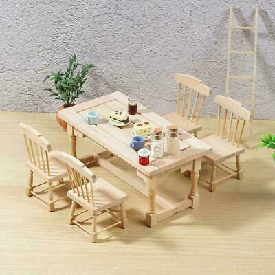 1:12 Dollhouse Furniture Set 1 Dining Table and 4 Chairs Painted Wood Can B T6N5
