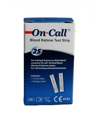 25 Blood Ketone Test Strips for the On call meter monitor