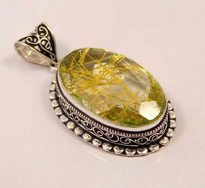 A++ Golden Needle Rutlie .925 Silver Plated Hand Carving Pendant Jewelry JC6642