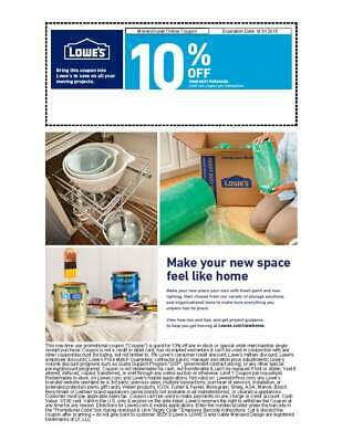 Lowe's 10% off coupon Exp 8/31/19
