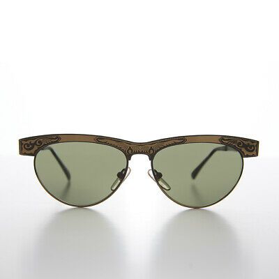 Bronze Classic Vintage All Metal Sunglass with Etched Ornaments - Jo