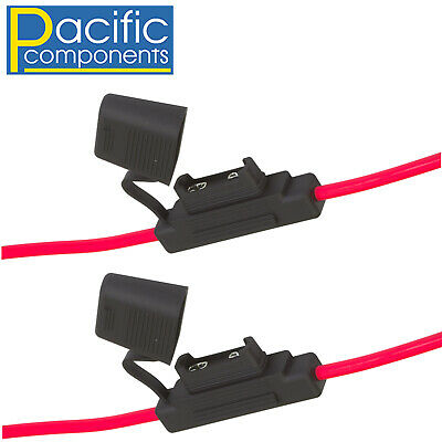 2 X Inline Red Maxi Blade Fuse Holder Heavy Duty 8Awg Wire 100A Amp Rated