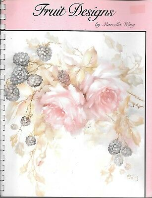 Fruit designs folk painting Marcella Wing roses vintage craft book spiral bound