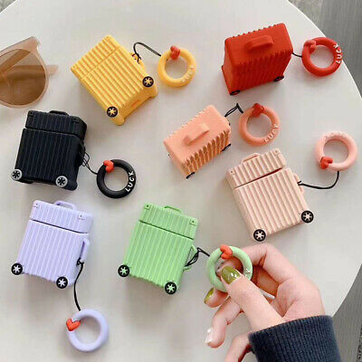 Cute Creative Suitcase Luggage Silicone Earphone Case Cover for Apple Airpods