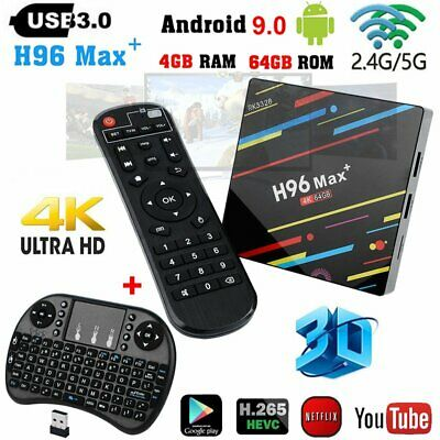 H96 MAX Plus Android 9.0 4K WIFI Media Smart TV Box Quad Core 4GB+64GB + Clavier