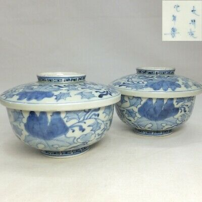 A785: Japanese pair of covered bowl of old IMARI porcelain with flower pattern