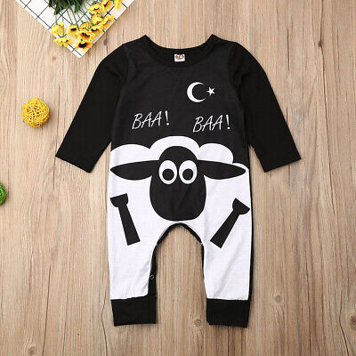 Newborn Toddler Kids Baby Boy Girl Cartoon Romper Long Sleeve Playsuit Outfit AU