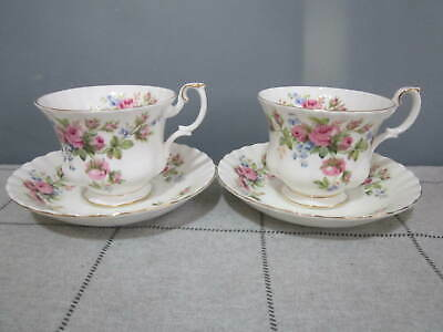 Two Vintage Royal Albert Bone China Moss Rose Tea Cups & Saucers