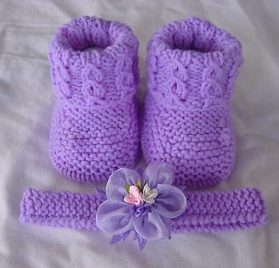 HAND KNITTED BOOTIES & HEADBAND - NEW to fit 0-3 month old Baby or Reborn Doll