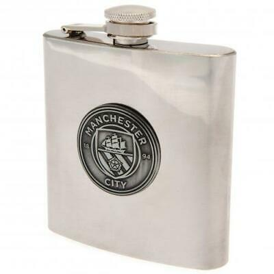 Manchester City Man Fc 6oz Stainless Steel Hip Flask Antique Style