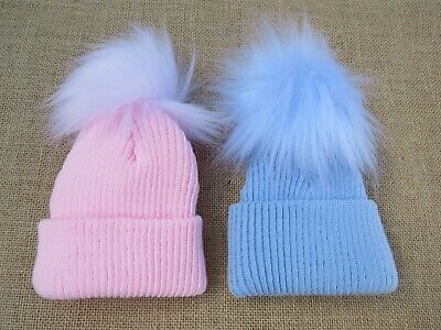 Premature Tiny Baby Boys Girls Kinder Spanish Style Knitted Fur Pom Pom Hat