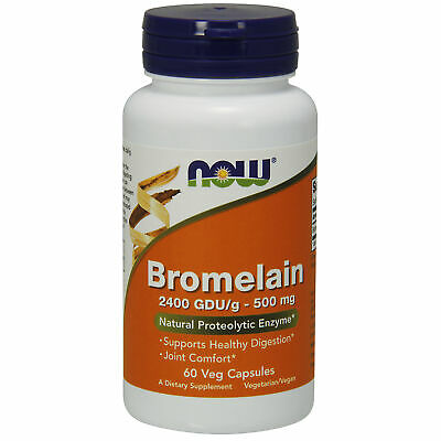 NOW Foods Bromelain 500mg 60 Veg Caps Inflammation Joint Pain Swelling