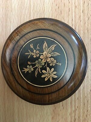 Antique Sorrento Olive Wood Inlaid Marquetry Trinket Box 80mm Dia