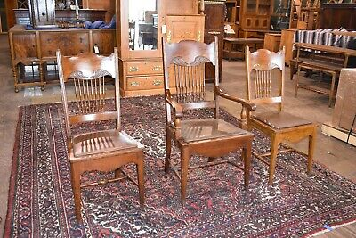 Set of 3 Antique Oak Carved Larkin Dining Chairs