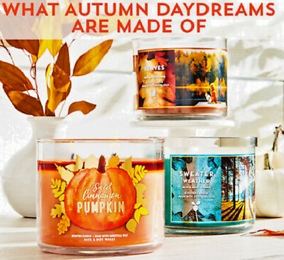 🍁🍂 Bath and Body Works 3 Wick Candles - Fall/Autumn 2019 - Free P&P 🍁🍂