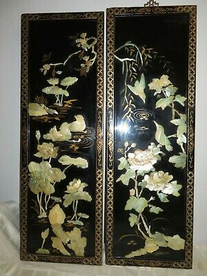 Pair Black Lacquer Chinese Mother of Pearl Flowers Wall Art Panel