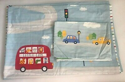 M195 Mothercare On The Road Duvet Cover & Pillowcase Cotton Cot Toddler Bed NEW