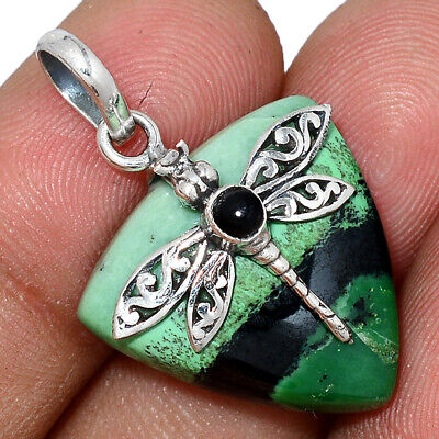 Dragonfly - South African Trans Vaal Jade 925 Silver Pendant AP106786 78F