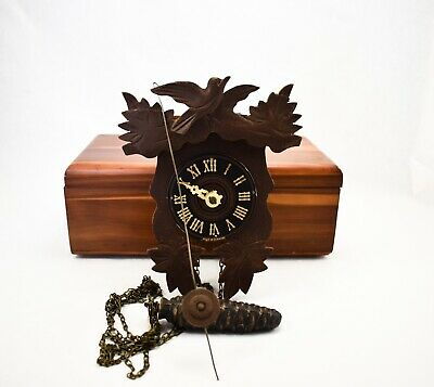 Small Wooden German Cuckoo Clock Damaged Missing Parts Pre 1960 Good for Parts