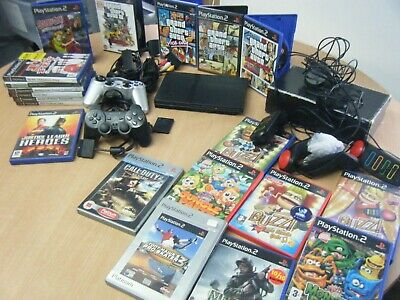 Sony Playstation 2 Slim Bundle Console 2 Controllers Set Of Buzzers And 20 Games