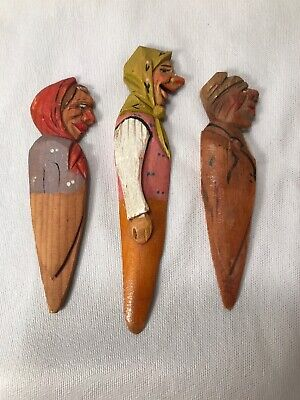 "3 Vintage Anri Hand Carved Wooden Bookmarks Women Painted Profile 3.75""- 4.5""L"