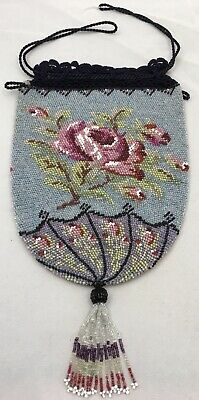Antique French Glass Micro Beaded Drawstring Bag Purse Floral Roses GORGEOUS!