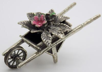 Vintage Solid Silver Italian Made Wheelbarrow w/t Flowers Miniature, Stamped