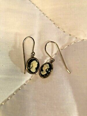 Antique/Vintage Sterling Silver Petite Hand-Carved Cameo Earrings