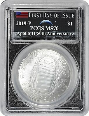 2019-P Apollo 11 50th Ann Commem Silver Dollar PCGS MS70 FDOI Earth Rising Moon