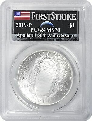 2019-P Apollo 11 50th Ann Commem Silver Dollar PCGS MS70 FS Earth Rising Moon