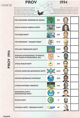 SOUTH AFRICA 1994 BALLOT PAPER WESTERN CAPE 1st DEMOCRATIC ELECTION
