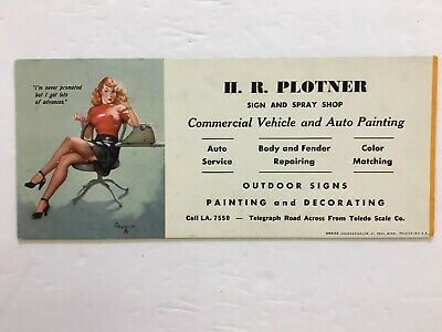 "Vintage Pin-Up Blotter Gil Elvgren ""I'm never promoted"" Secretary H R Plotner"