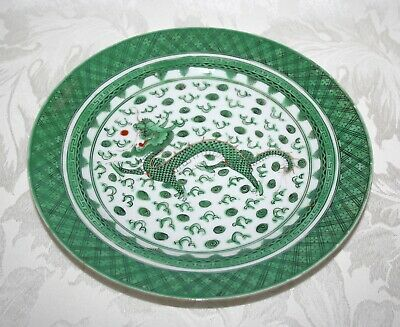 Antique Chinese Hand Painted Enameled Porcelain Gilded Dragon 24Cm Plate