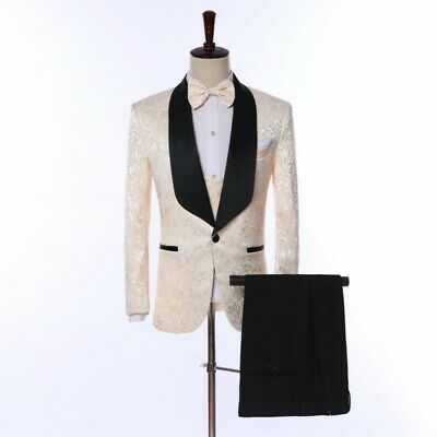 Men Shawl Lapel Groom Tuxedos Formal Wedding Prom Party Suit One button 3pcs New
