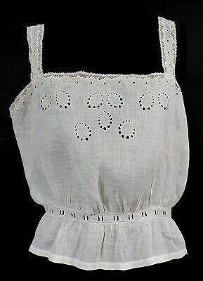 Antique Victorian 19Th C Camisole W Eyelet & Embroidery For Dress Never Worn