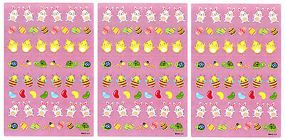 3 Sheets Easter Egg Mini Scrapbook Stickers Jelly Beans Chicks Turtle Bunny