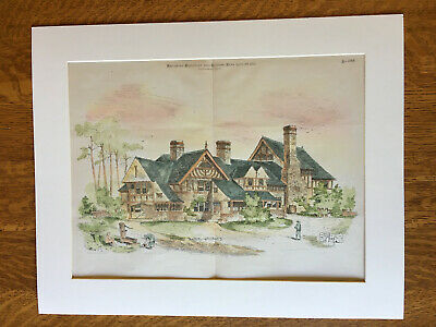 Double Cottages, Charles Clark, Newton Center, MA, 1881, Original Hand Colored