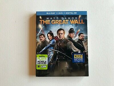 The Great Wall - Matt Damon-Blu-Ray+DVD & Digital with Slipcover! New! Sealed!