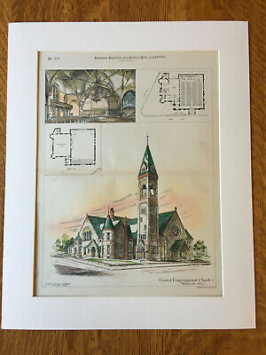 Central Congregational Church, Worcester, MA, 1886, Original Hand Colored