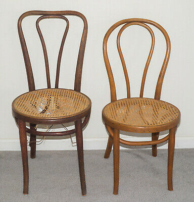 2 Antique Thonet Style Bent Wood Cane Chairs