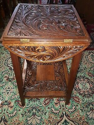 Victorian carved Oak Plant Stand  Heavily Carved