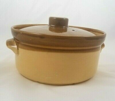 """Brown Stoneware T.G. GREEN GRANVILLE ENGLAND POTTERY 4"""" Round Crock With Cover"""