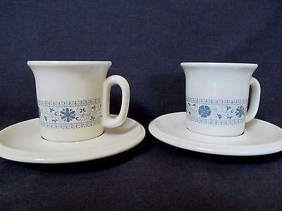 Set of Two Demitasse Cup and Saucer Beige and Blue Ceramic made in Italy
