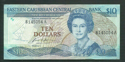 East Caribbean States 1985-93 10 Dollars P 23a Circulated