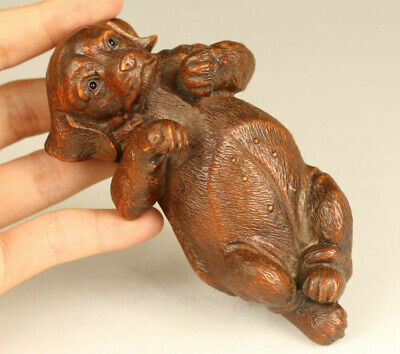 Asian old boxwood hand carved lie dog statue netsuke hand piece gift decoration