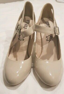 Leather Lined Beige Heels 38 / 7