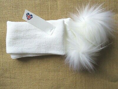 Baby & Girls UK Made Romany Spanish Style Faux Fur Pom Pom Knitted Scarf White